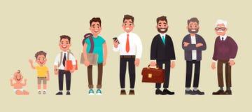 Caráter de um homem em idades diferentes Um bebê, uma criança, um adolescente, um adulto, uma pessoa idosa O ciclo de vida ilustração stock