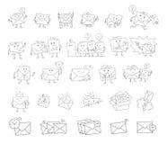 Caráter desenhado à mão do grupo grande do esboço do envelope Assinatura de envio pelo correio Linha preta escrita à mão ilustração stock