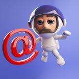 Caráter do astronauta do astronauta com símbolo do endereço email em 3d