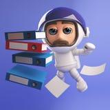 Caráter do astronauta do astronauta que flutua no espaço com os dobradores em 3d