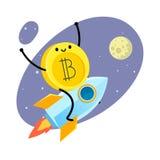 Caráter do bitcoin dos desenhos animados Fotos de Stock Royalty Free
