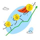 Caráter do bitcoin dos desenhos animados Fotografia de Stock Royalty Free