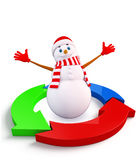 Caráter do boneco de neve com diagrama do gráfico Foto de Stock Royalty Free