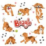 Caráter do cão engraçado do movimento em poses dinâmicas diferentes Sentando e agitando o animal de estimação ilustração stock
