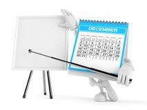 Caráter do calendário com whiteboard vazio ilustração royalty free