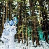 Caráter do conto de fadas do abominável homem das neves na foto exterior da fantasia da floresta do inverno Fotografia de Stock Royalty Free