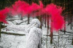 Caráter do conto de fadas do abominável homem das neves na foto exterior da fantasia da floresta do inverno Imagem de Stock