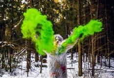 Caráter do conto de fadas do abominável homem das neves na foto exterior da fantasia da floresta do inverno Imagens de Stock