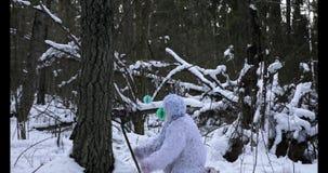 Caráter do conto de fadas do abominável homem das neves na metragem exterior do lapso de tempo da fantasia da floresta do inverno vídeos de arquivo