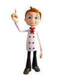 Caráter do cozinheiro chefe com apontar a pose ilustração stock