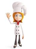 Caráter do cozinheiro chefe com dizer a pose do adeus Fotografia de Stock