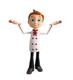 Caráter do cozinheiro chefe com pose da apresentação ilustração do vetor