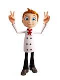 Caráter do cozinheiro chefe com pose da vitória ilustração royalty free