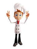 Caráter do cozinheiro chefe com pose da vitória ilustração do vetor