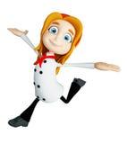 Caráter do cozinheiro chefe com pose de corrida ilustração stock
