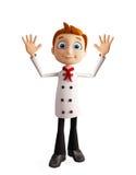 Caráter do cozinheiro chefe com pose do adeus ilustração do vetor