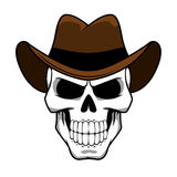 Caráter do crânio do vaqueiro com o chapéu de feltro marrom Foto de Stock