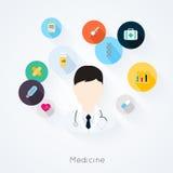 Caráter do doutor com ícones da medicina Fotografia de Stock Royalty Free