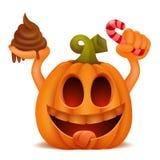 Caráter do emoticon dos desenhos animados da abóbora de Dia das Bruxas Conceito da doçura ou travessura Fotos de Stock Royalty Free