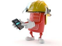 Caráter do extintor que usa a calculadora ilustração stock