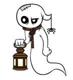 Caráter do fantasma dos desenhos animados com uma lanterna em um fundo branco Imagens de Stock Royalty Free
