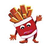 Caráter do homem das batatas fritas da pintura Fotografia de Stock Royalty Free
