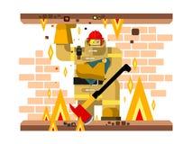 Caráter do homem do fogo com bebê ilustração do vetor