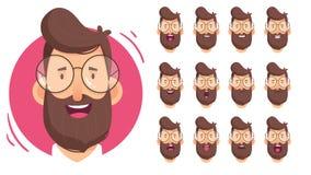 Caráter do homem para suas cenas Caráter pronto para a animação Desenhos animados engraçados Ajuste para o caráter fala animações ilustração royalty free