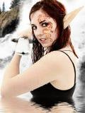 Caráter do jogo do papel da ação viva no traje Imagem de Stock Royalty Free