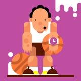 Caráter do jogo Jogador de basquetebol com a bola dois Illustra do vetor Imagem de Stock
