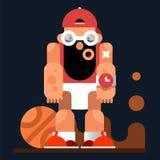 Caráter do jogo Jogador de basquetebol com esfera Ilustração do vetor Fotografia de Stock