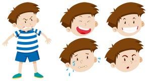 Caráter do menino com expressão facial ilustração do vetor