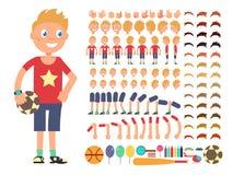 Caráter do menino dos desenhos animados Vector o construtor da criação com emoções diferentes e as partes do corpo ilustração do vetor