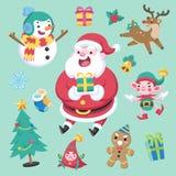 Caráter do Natal do estilo e ilustração bonitos lisos do vetor do grupo de elemento ilustração royalty free