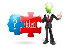 Caráter do negócio da ideia com enigma Fotografia de Stock Royalty Free