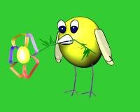 Caráter do pássaro com uma flor Fotos de Stock