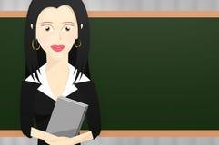 Caráter do professor fêmea que guarda alguns livros na frente do professor Imagem de Stock Royalty Free