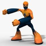 caráter do robô do cyborg 3D isolado no fundo branco ilustração royalty free