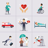 Caráter do seguro e molde dos ícones Vetor Fotos de Stock