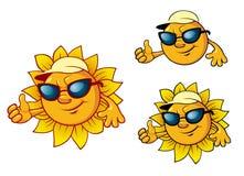 Caráter do sol do estilo dos desenhos animados Fotos de Stock