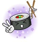 Caráter do sushi que guardara os Chopsticks que dão o símbolo de paz ilustração royalty free