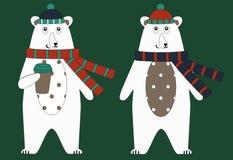 caráter do Urso-outono no lenço e no chapéu feitos malha com o café a ir Imagem de Stock Royalty Free