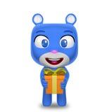 Caráter do urso que guarda o presente Fotos de Stock