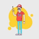 Caráter do vetor Camionista com bigode Campônio americano Imagens de Stock