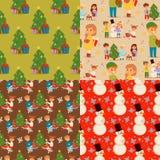 Caráter do vetor das crianças do Natal que joga a criança do xmas do ano novo dos desenhos animados da árvore de Natal dos feriad Foto de Stock