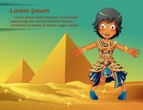 Caráter dos egípcios no fundo das pirâmides ilustração royalty free