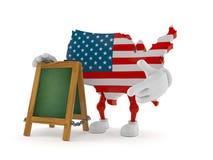 Caráter dos EUA com quadro indicador do giz ilustração do vetor