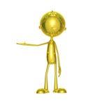 Caráter dourado com apresentação da pose Fotografia de Stock Royalty Free