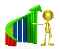 Caráter dourado com gráfico Fotos de Stock