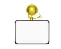 Caráter dourado com placa branca Fotos de Stock Royalty Free